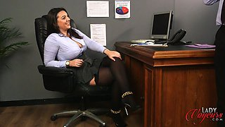 Naughty secretary watches her horny boss masturbating