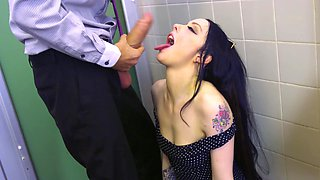 Take a slut to the bathroom and fuck her with a huge dick