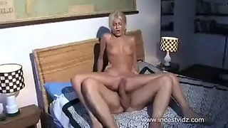 Perfect innocent blonde daughter jasmine montero is taught how to take a big cock by papa