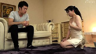 Busty Japanese mom has a fiery pussy starving for young meat