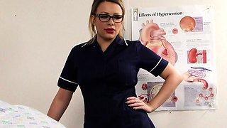 Busty nurse in uniform shows her big boobs