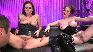 Busty MILF mistress fucks and punishes her slave with her hot bestie