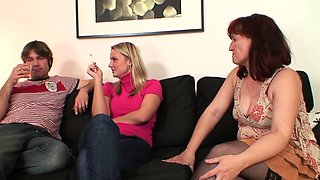 Wife watches he fucks her very old mother