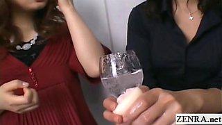 Subtitled Japanese CFNM amateur group femdom with toys