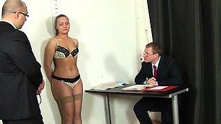 Naked job interview for wannabe secretary girl