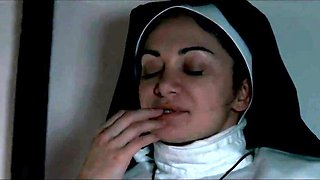 Two hot nuns can't resist the temptation of lesbian sex