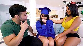 Latina graduate fucks her stepfamily in a threesome