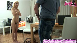 german petite blonde teen at fake casting agent for seduction with 18yo