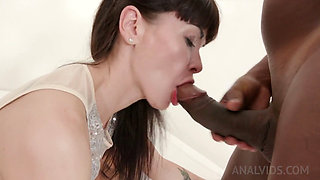 Sexy Skinny MILF Sasha Double Penetrated by Three Black Bulls