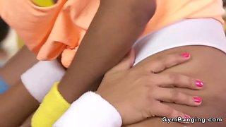 black lesbian gym oral action