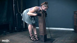 Hardcore extreme anal abuse for chubby brunette Fallon West in chains