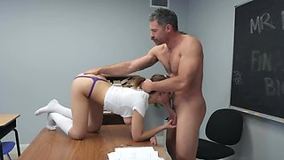 Professor can't resist in front of sexy student girl