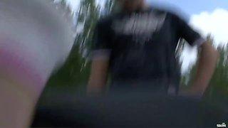 Pregnant Slut In Threesome Fuck Outdoors - Cumshots