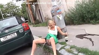 Blonde MILF Pissing In Public