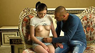 Shy teen with aroused tits Galina Kurnosaya is gently rubbed