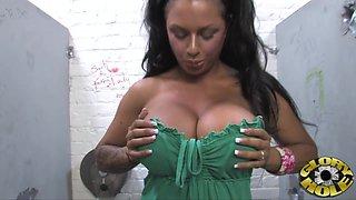 Fake tits ebony women strips to fuck dick through gloryhole