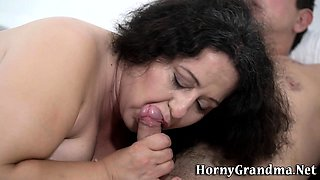 Fat granny mouth spunked