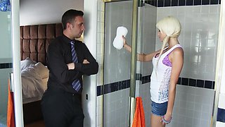 Perfect babe Rikki Sixx banging big cock in the bathroom
