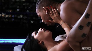 Passionate interracial sex on the roof with the romance and candles