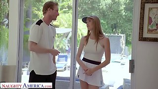 Naughty america tennis instructor gets lucky and fucks his client, ashley lane
