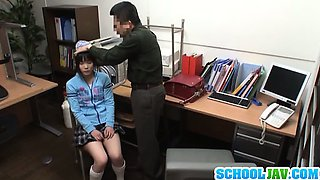 Sexy Asian girl in uniform gives a hot blowjob here