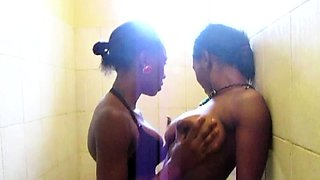 African Cuties Eating Pussy in Shower