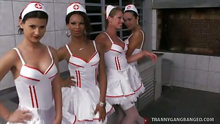 Six Insanely Hot Tranny Nurses Gangbang Patient!