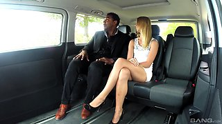 Bold Violette Pure gets it on with a black stranger in the car