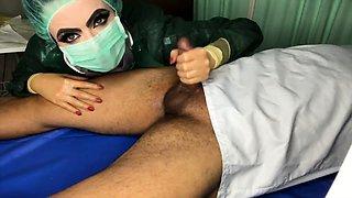 Dominant nurse delivers a sensual prostate massage on webcam