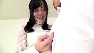 korean schoolgirl gives a blowjob