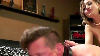 Naughty vixen penetrates athletic slave with big strapon