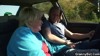 Car driver bangs old whore