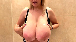 Giant boobs covered in milk