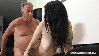 Old fart can't keep his hands off his stepdaughter's big tits