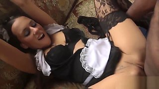 Interracially toyed maid