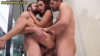 Red-haired dp babe sucks in a trio before double penetration