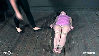 Teen cutie Luna Rival tied up and abused by mistress London River