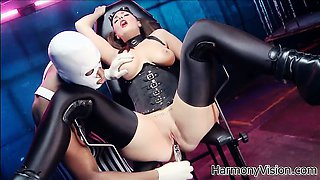 Paige gets her pussy tickled on the pooltable