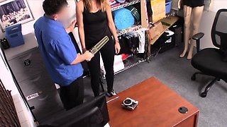 Stealing MILF ends up riding guards cock in his back office