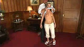 Boss Dominates and Fucks His Blonde Employee in BDSM Sex in the Office