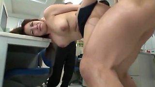 Horny Japanese chick Mako Oda in Hottest Secretary, Gangbang JAV clip