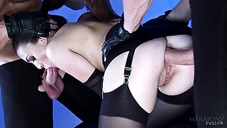 Kinky bitch Tiffany Doll is fucked and fed with sperm by two brutal dudes