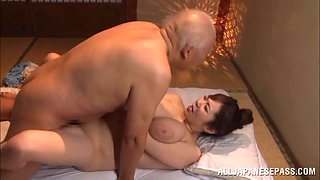 Making an old man very happy by letting him fuck her