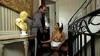 Daddy Smoking Cigar As The Maid Sucks His Cock