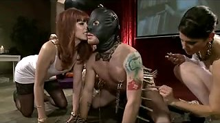 Domina chicks have party with their slave and a strapon