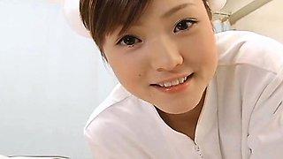 Subtitled POV Japanese nurse handjob with facesitting