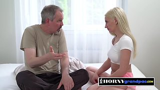 Horny old man is getting his dick sucked by his slutty teen neighbour