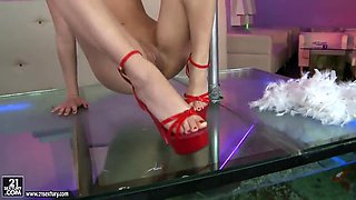 Leggy Blue Angel in high heels is stripping