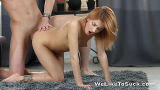 Sexy svelte girl Esperanse gets undressed by BF whose cock she rides