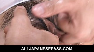 Japanese honey Karin Tsubaki oiled up for hot sex